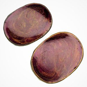 Chico's Clip On Earrings Brown Red Gold Swirl Oval